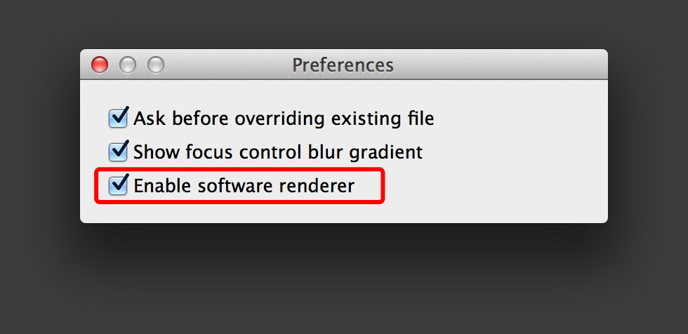 Option for Software Renderer in TiltShift Preferences.