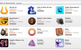 New & Noteworthy Section on the Mac App Store Front Page